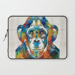 Colorful Chimp Art - Monkey Business - By Sharon Cummings Laptop Sleeve