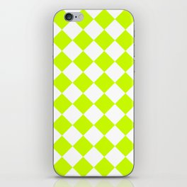 Large Diamonds - White and Fluorescent Yellow iPhone Skin