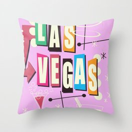 Vintage Las Vegas Vacation print pink version Throw Pillow