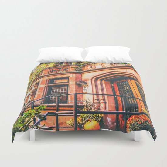 New York City Autumn Pumpkin Duvet Cover