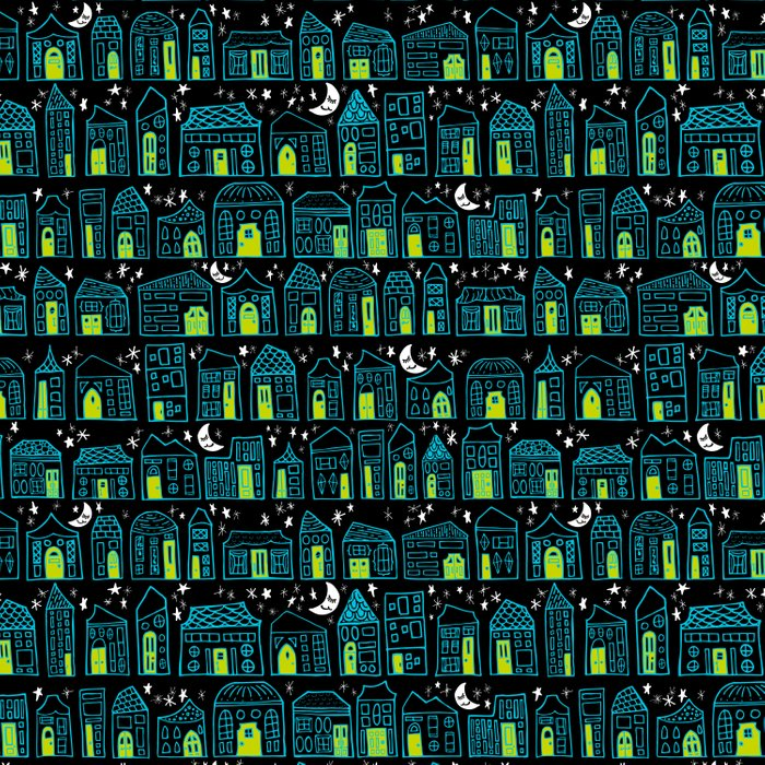 Starry Night in the City - Turquoise & Lime Comforters
