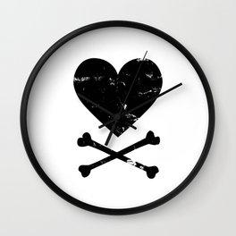 Heart and Crossbones - Black Wall Clock