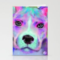 pitbull Stationery Cards featuring Funky Pitbull by Sally Rowland Art