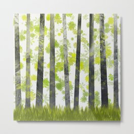 Trees, herbs and leaves in the forest Metal Print