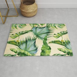 Green Tropics Leaves on Linen Rug
