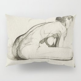 Female Nude Figure Charcoal Drawing Leaning Over Thinking Black and Beige Pillow Sham