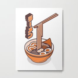 Japanese Ramen Isometric - Orange White Metal Print