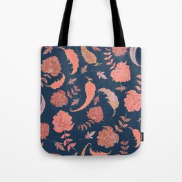 Paradise Patterns - Blue & Coral Tote Bag