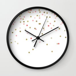 Gold & Pink Confetti Wall Clock