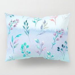 Leaves and flowering branch on blue watercolor background. Pillow Sham