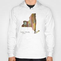 new york map Hoodies featuring new york state map by bri.buckley