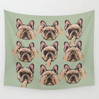 frenchie Wall Tapestries featuring No Evil  Frenchie by Huebucket