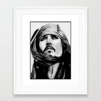 jack sparrow Framed Art Prints featuring Jack Sparrow by Gabriel Fox