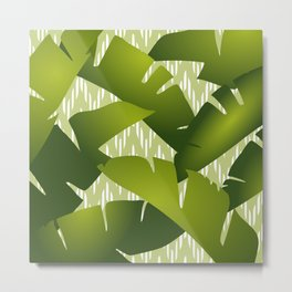 Banana Leaves Palm Jungle Green, Chevron, Stripes Metal Print