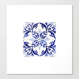 Azulejo V - Portuguese hand painted tiles Canvas Print