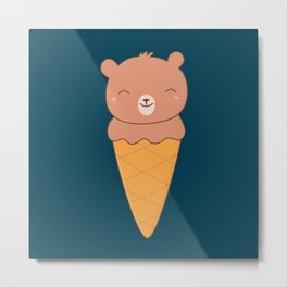 Kawaii Cute Chocolate Bear Ice Cream Metal Print