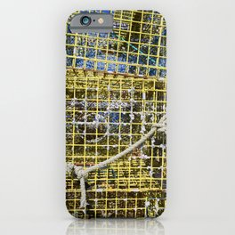 Lobster traps piled high on the Portsmouth New Hampshire docks iPhone Case