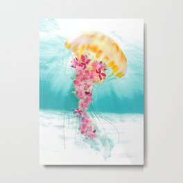 Jellyfish with Flowers Metal Print