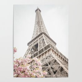 Eiffel Tower Cherry Blossoms Poster