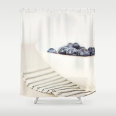 Blueberries in Bowl - Kitchen Art - Food Photography Shower Curtain