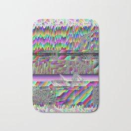 glitch art waves acid trip abstract space pixel rainbow 90s oldschool Bath Mat
