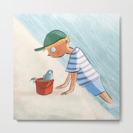 The Boy and the Bucket Metal Print