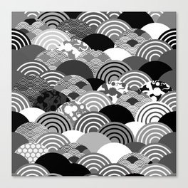Nature background with japanese sakura flower, Cherry, wave circle Black gray white colors Canvas Print