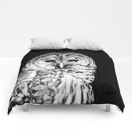 Black and White Barred Owl Face Close Up Comforters
