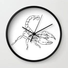 Simple Scorpion Line Art Graphic Wall Clock