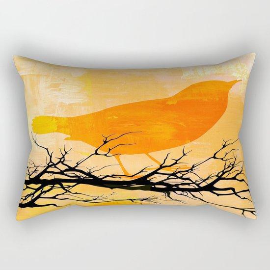 Orange Bird  Rectangular Pillow