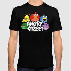 Angry Street: Angry Birds and Sesame Street Mashup Mens Fitted Tee Black SMALL