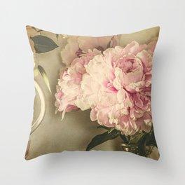 Painted Peonies -- Botanical Still Life Throw Pillow