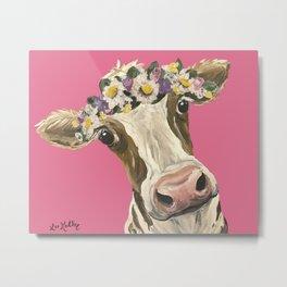 Cute Cow Art, Colorful Flower Crown Cow Art Metal Print