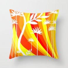 Orange and White Plant Throw Pillow