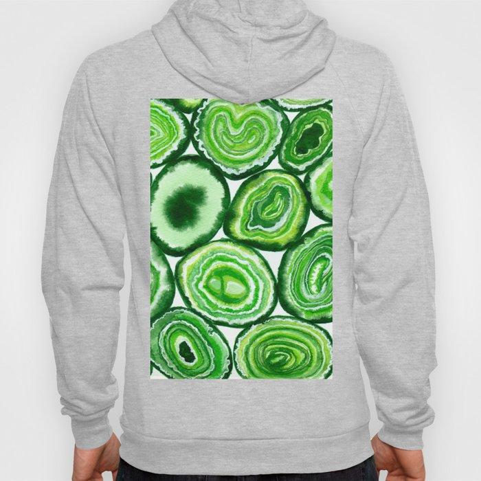 Green agate pattern watercolor Hoody