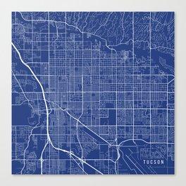 Tucson Map, USA - Blue Canvas Print