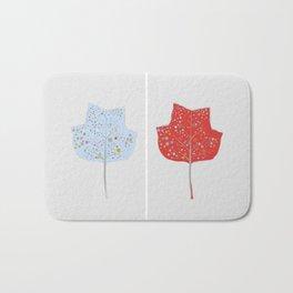 Blue & Red Leaf Design II Bath Mat