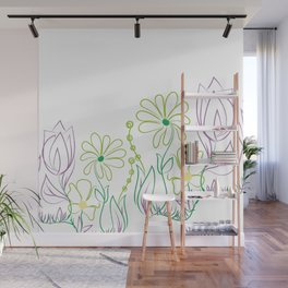 Floral minimal ilustration Wall Mural