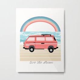 Van Life II - rainbow beach van road tripping travel camping bus RV art Metal Print