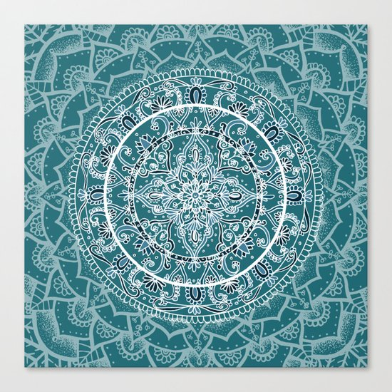 Detailed Teal and Blue Mandala Pattern Canvas Print