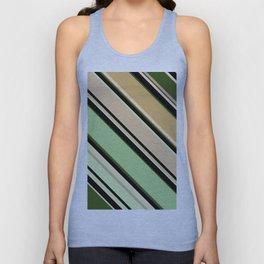 Striped pattern, diagonal.Brown, beige, green ,black stripes. Unisex Tank Top