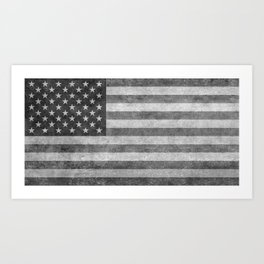 US flag - retro style in grayscale Art Print