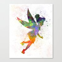 tinker bell Canvas Prints featuring Tinker bell in watercolor by Paulrommer