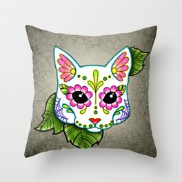 White Cat - Day of the Dead Sugar Skull Kitty Throw Pillow