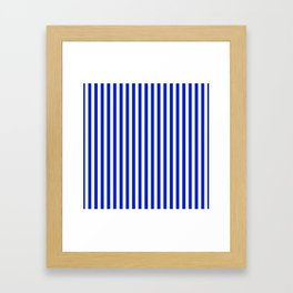 Cobalt Blue and White Vertical Deck Chair Stripe Framed Art Print