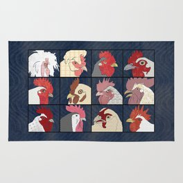 Rooster Face vertical Rug