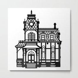 Old Victorian House - black & white Metal Print