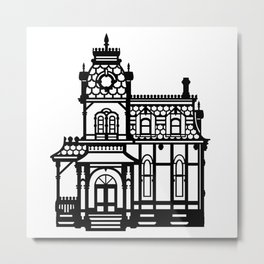 Old Victorian House - black & white Metal Print