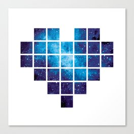 Amazing blue pixel heart with watercolor Galaxy Canvas Print