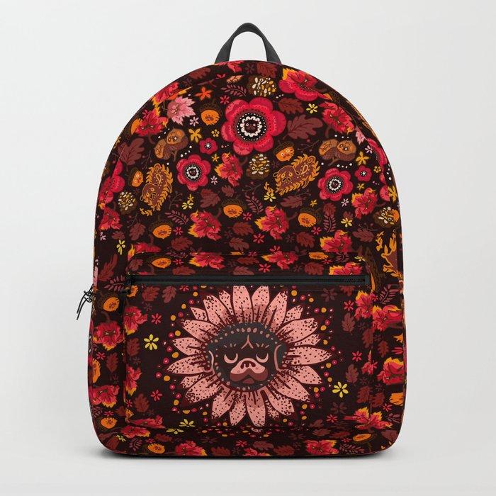 Fall Pug Medallion Backpack